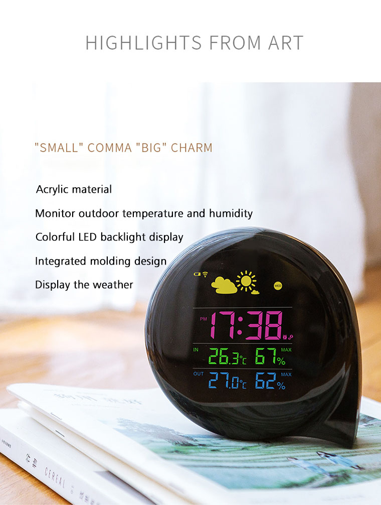 Comma Modeling Wireless Full-Color Screen Digital USB Outdoor Weather Station Hygrometer Thermometer Forecast Sensor Clock