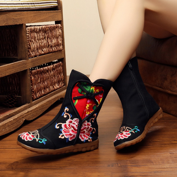 Flower Embroidery Zipper Round Toe Ankle Short Boots