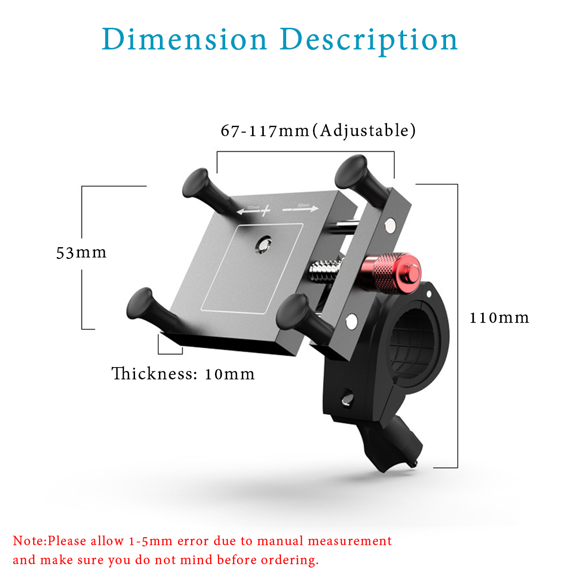 4-6.5inch 360° Bike Motorcycle 2in1 Rearview Mirror/Handlebar Mount Mobile Phone Holder