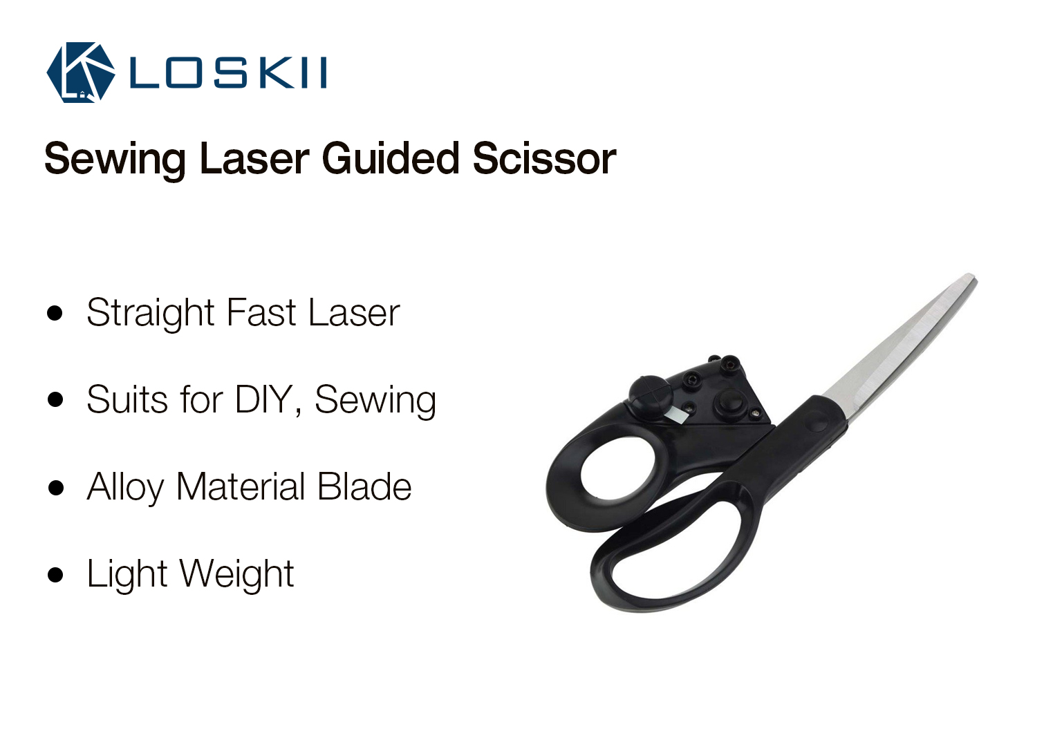 Loskii HT-220 Sewing Laser Guided Scissors Fast Laser Guided for Home Crafts Wrapping Cuts Straight
