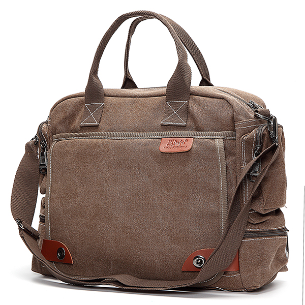 Description: Color: Khaki, Coffee, Black, Gray Material: Canvas Detail in Size: Length: 40cm(15.75inch) Width/ Depth: 13cm(5.12inch) Height: 30cm(11.81inch) Package included: 1X Bag More Details: The bag can fit in laptop under 14 inch (including 14 inch) #handbag