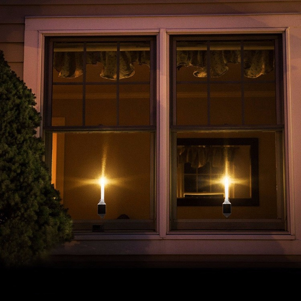 2pcs Solar Powered LED Candle Light with Sticker Indoor Home Window Decoration