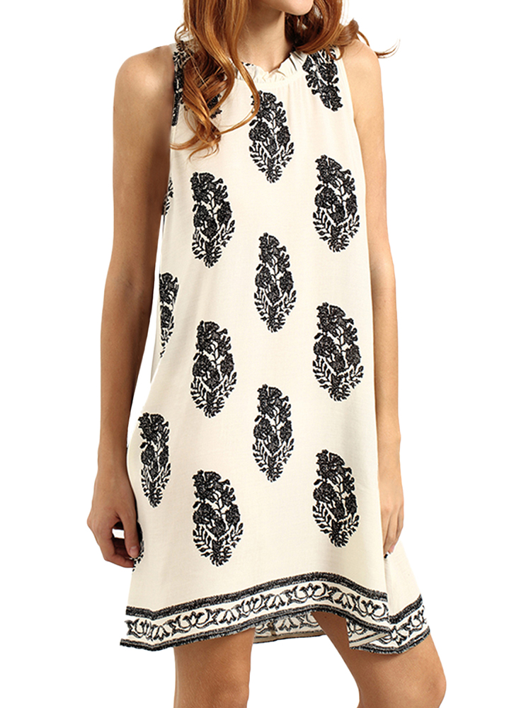 Women Casual Floral Print Sleeveless Doll Neck Dress