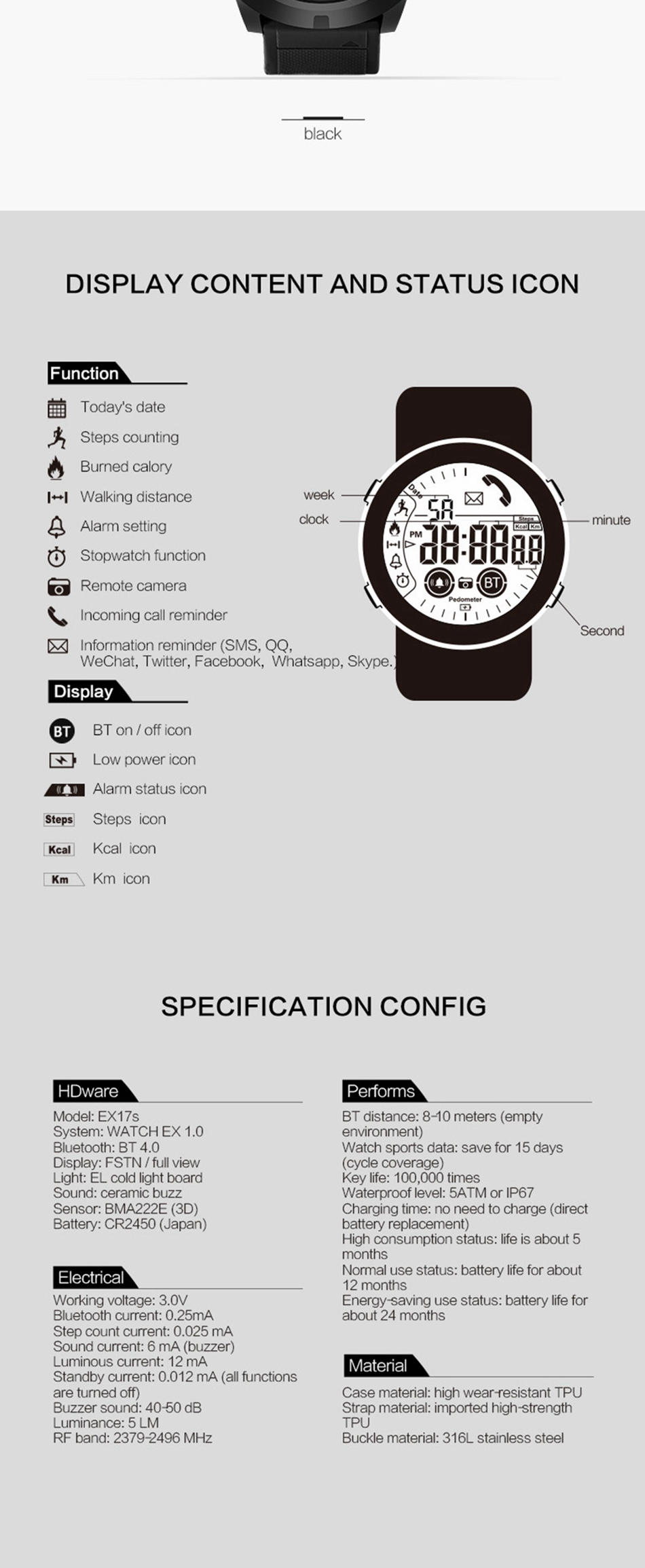 Bakeey EX17S Luminous Sunlight-visible Dial Activity Record 5ATM Call Social Message Reminder 12 Month Long Standby Alarm Smart Watch