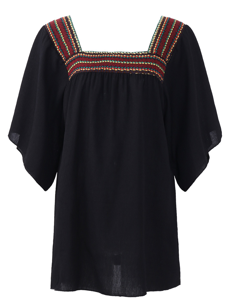 Women Embroidered Square Neck Batwing Sleeve Blouses