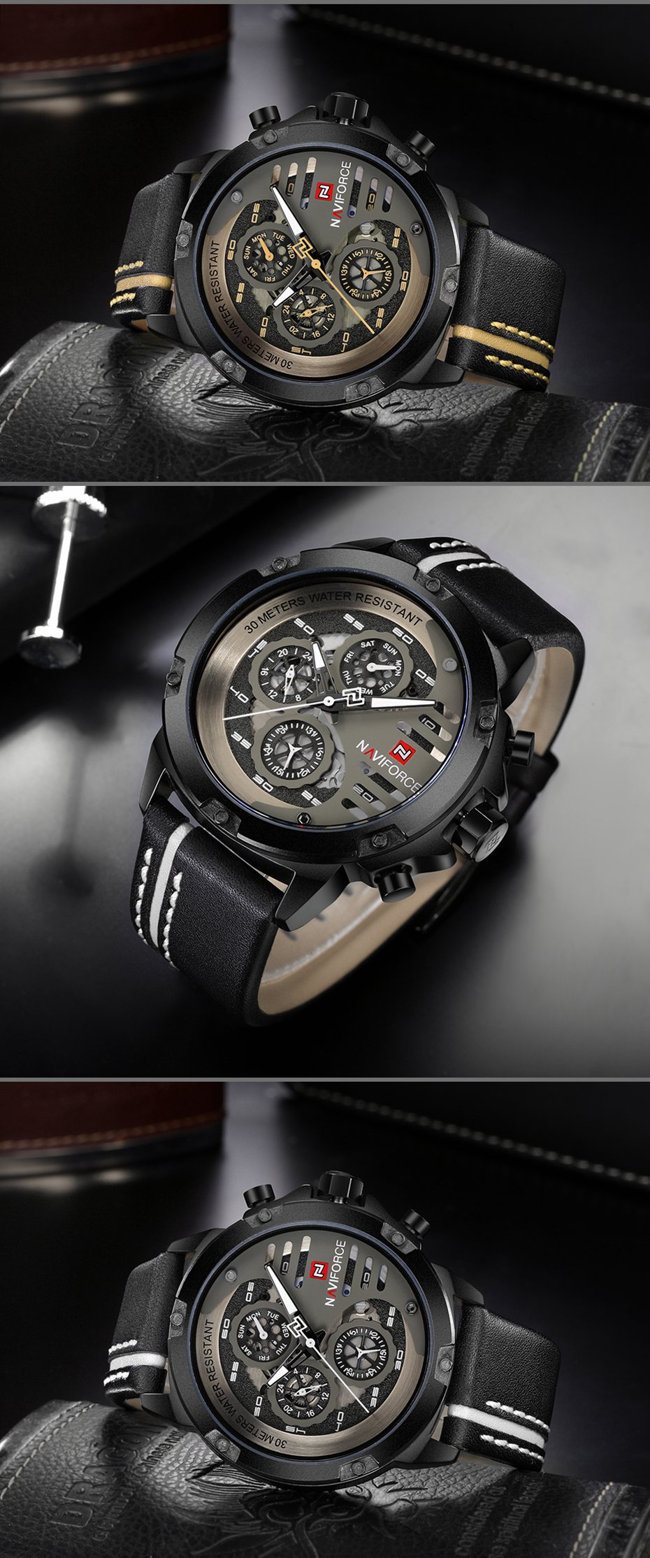 NAVIFORCE 9110 Men Watches Luxury Fashion 24 Hours Display L