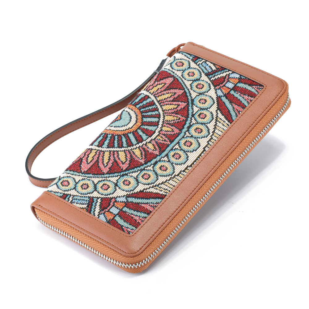 Brenice Women Bohemian Series RFID Floral Clutch Bag Purse