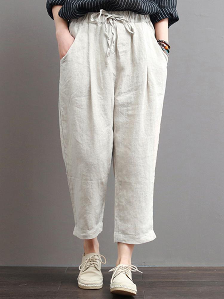933c07e5d37 Women Casual Elastic Waist Cotton Harem Pants with Pockets (COLOR  BEIGE