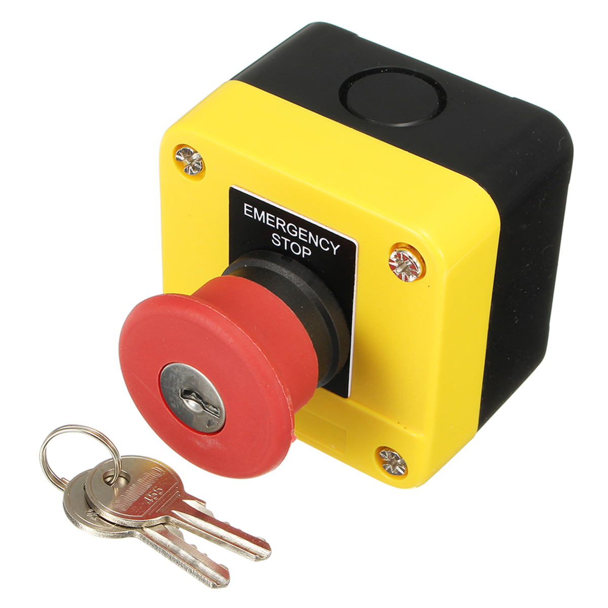 SAL-J184 Emergency Stop Station Key Release Reset Twist Button Danger Yellow