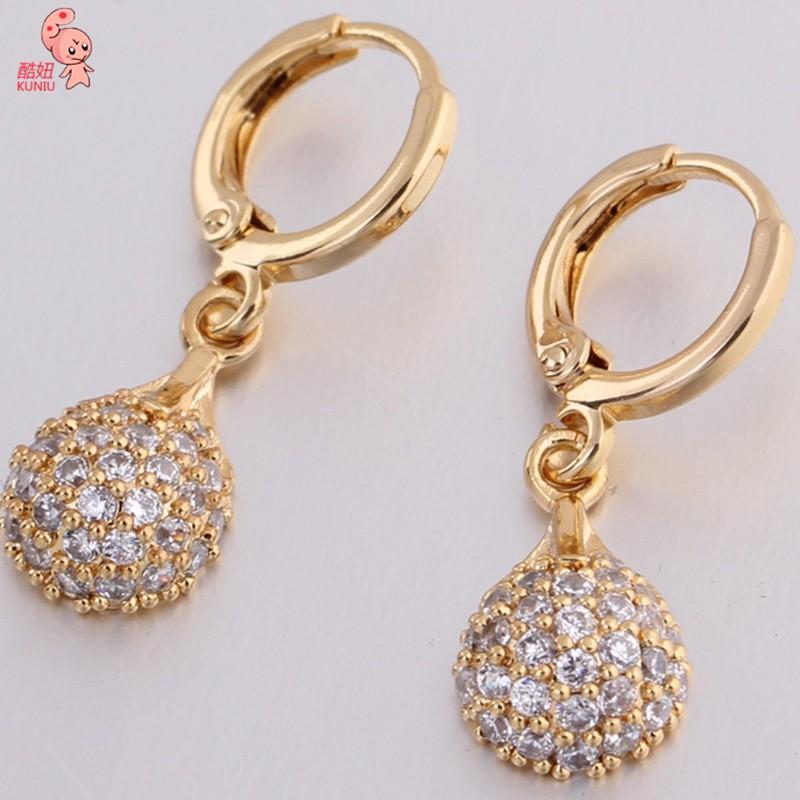 Kuniu Waterdrop Crystal Rhinestone Dangle Hoop Drop Earrings For Women