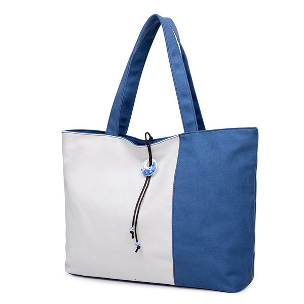 Women Contrast Color Canvas Tote Bags Casual Blue And White Porcelain Capacity Shopping Bags