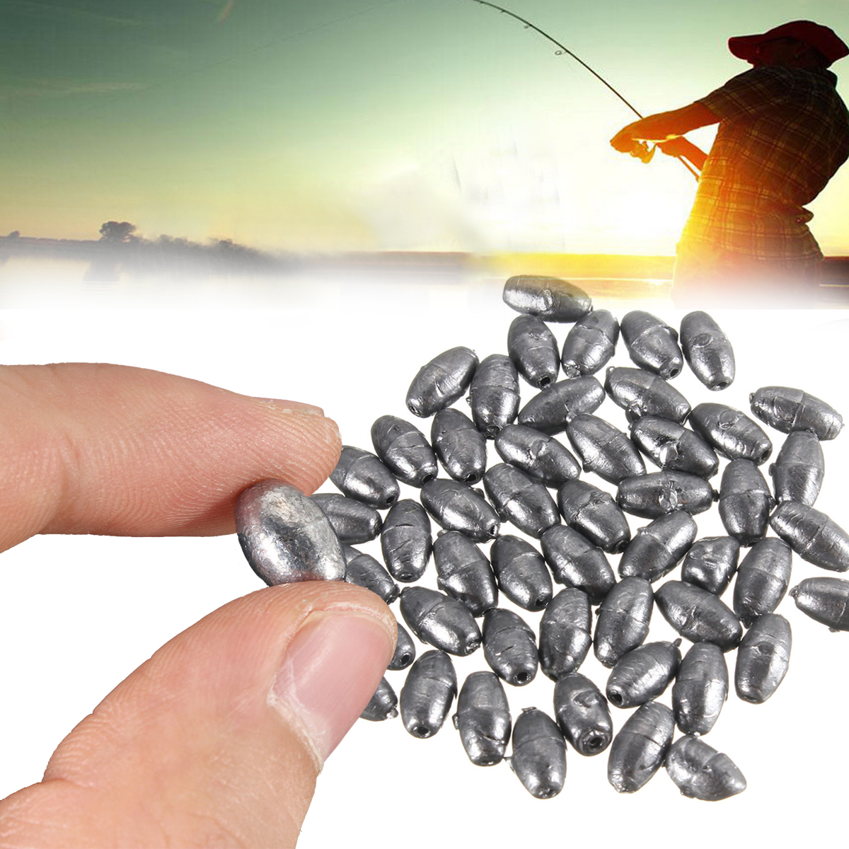50pcs Metal Olive Shape Leads Sinkers Fishing Sinker Pure Lead Making Sea Fishing Sinker Tackle