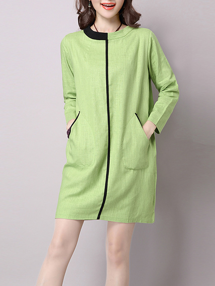 Casual Women Patchwork Long Sleeve Pocket Loose Dress
