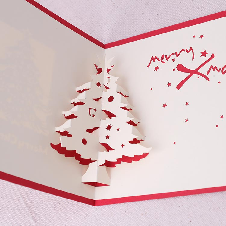 Christmas 3D Pop Up Christmas Tree Paper Carving Greeting Card Christmas Gifts Party Greeting Card