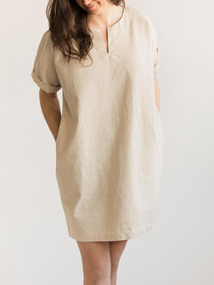 Women Cotton Short Sleeve V Neck Mini Shirt Dress