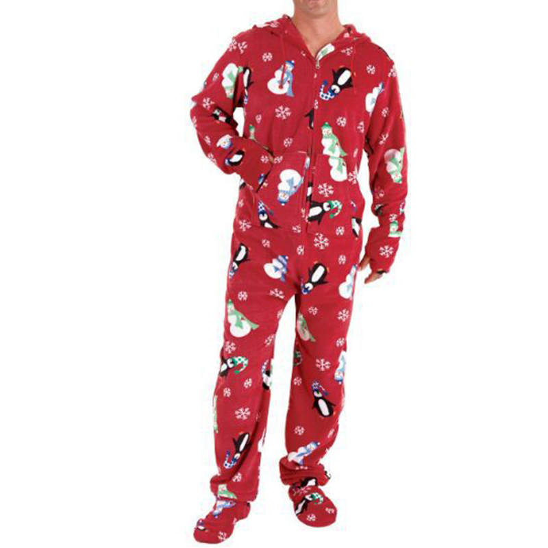 Mens Snowman Printing Hooded Christmas Pajamas Set Jumpsuit