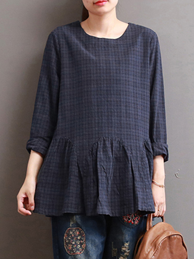 Women Check Long Sleeve Ruffled Loose Baggy Blouse