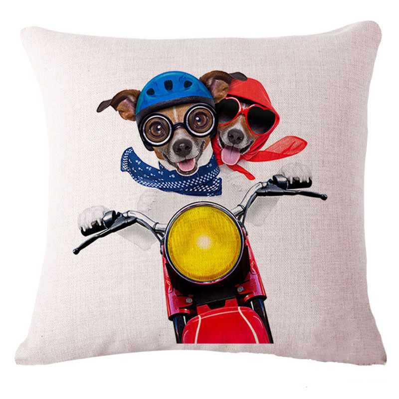 Honana 45x45cm Home Decoration Creative Cute Cartoon Dogs 8 Optional Patterns Cotton Linen Pillowcases Sofa Cushion Cover