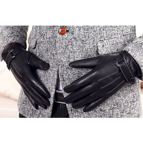 Full Finger Leather Gloves Men Winter Cycling Riding Outdoor Sports Black For BOODUN