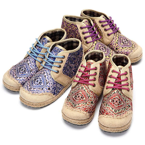 Women High Top Shoes Flat Casual Outdoor Knitting Lace Up Ankle Short Boots