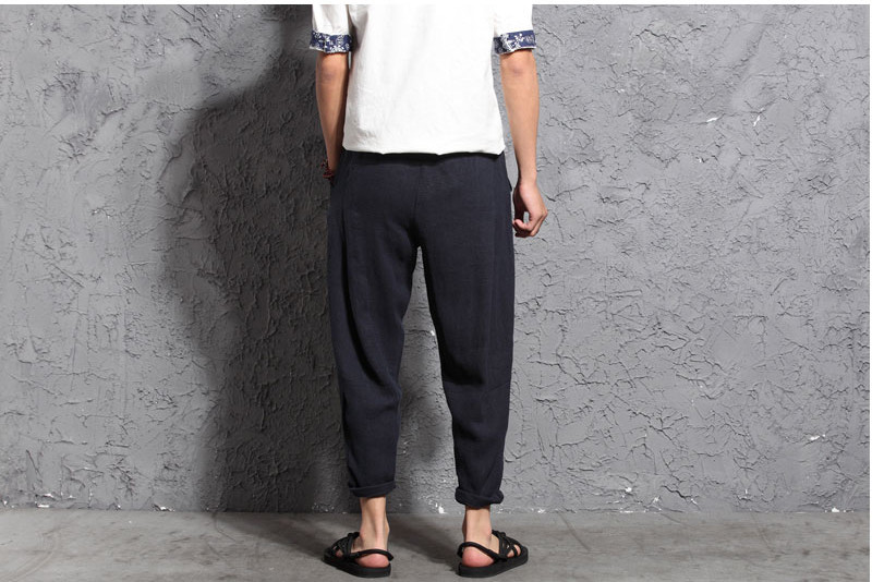 Chinese Style Men's Linen Cotton Casual Loose Pants