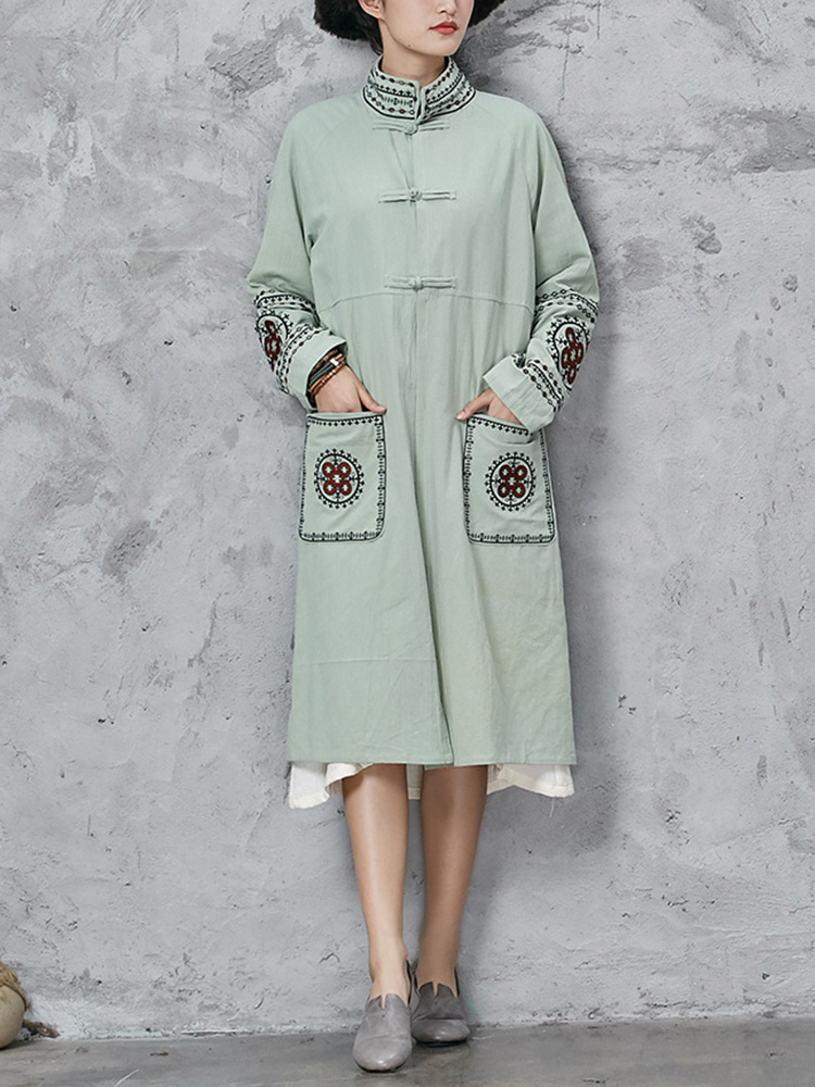 Vintage Women Embroidery Pockets Stand Collar Coat