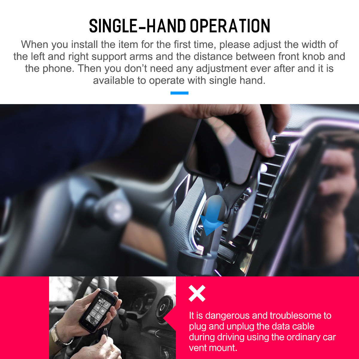 Rock Type-C Double Clip Single-Hand Operation Car Phone Holder Easy Charging Car Air Vent Mount