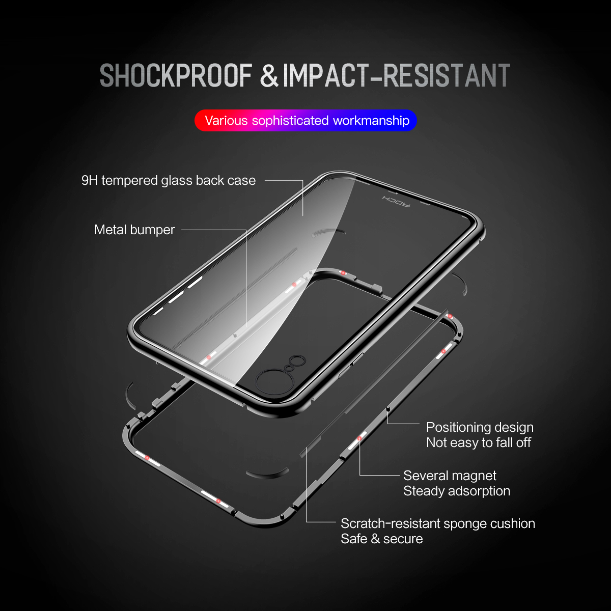 Rock Magnetic Adsorption Tempered Glass Metal Protective Case For iPhone XR