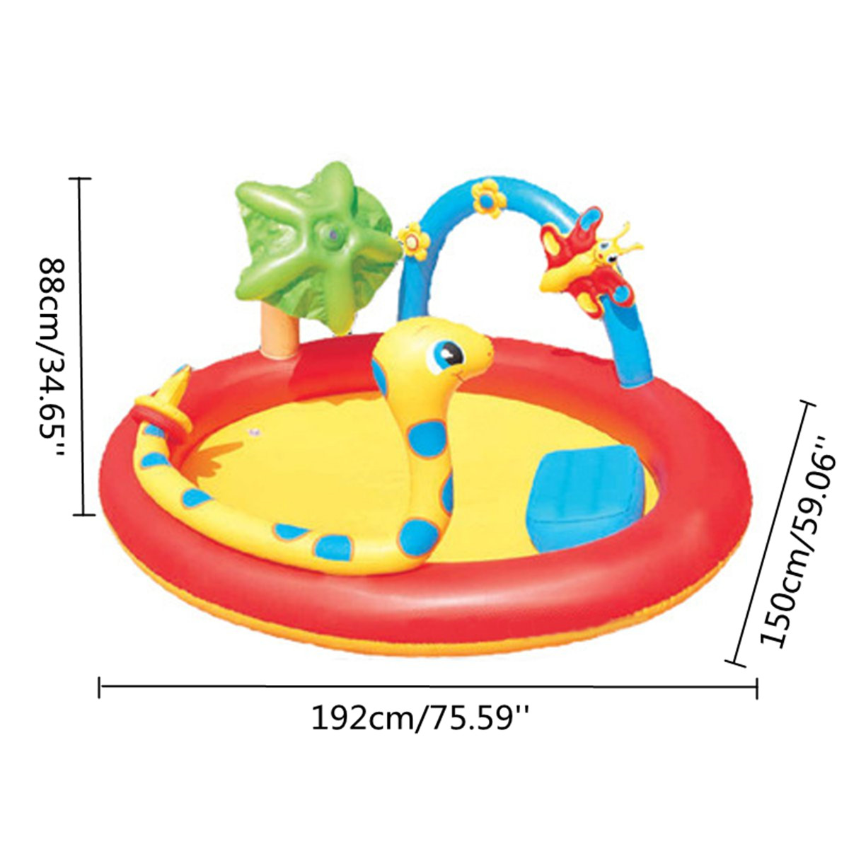 192x150x88cm PVC Inflatable Swimming Pool Children Kids Outdoor Safe Water Play