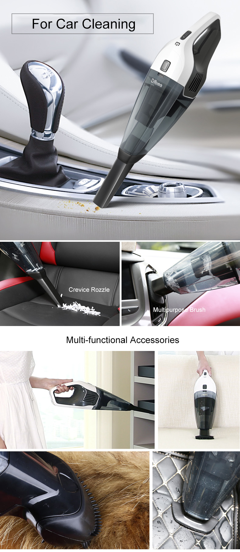Dibea LW-200 Hand-held Cordless Vacuum Cleaner Powerful Portable Pet Hair Dust Busters for Home and Car Cleaning