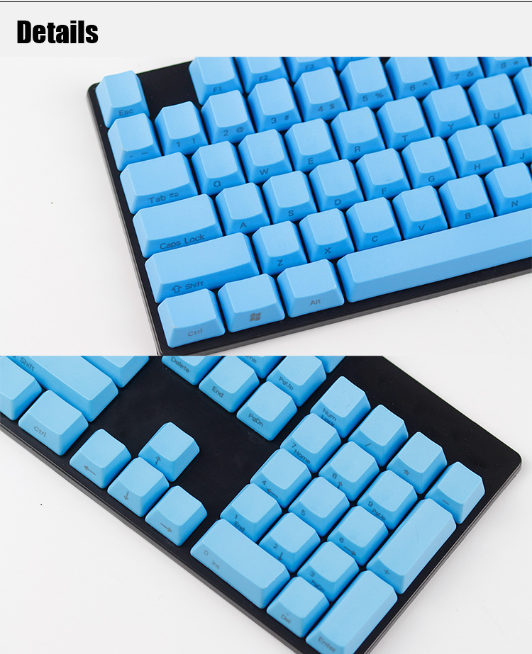 104 Key PBT OEM Profile Side Printed Thick Multiple Solid Color Keycaps