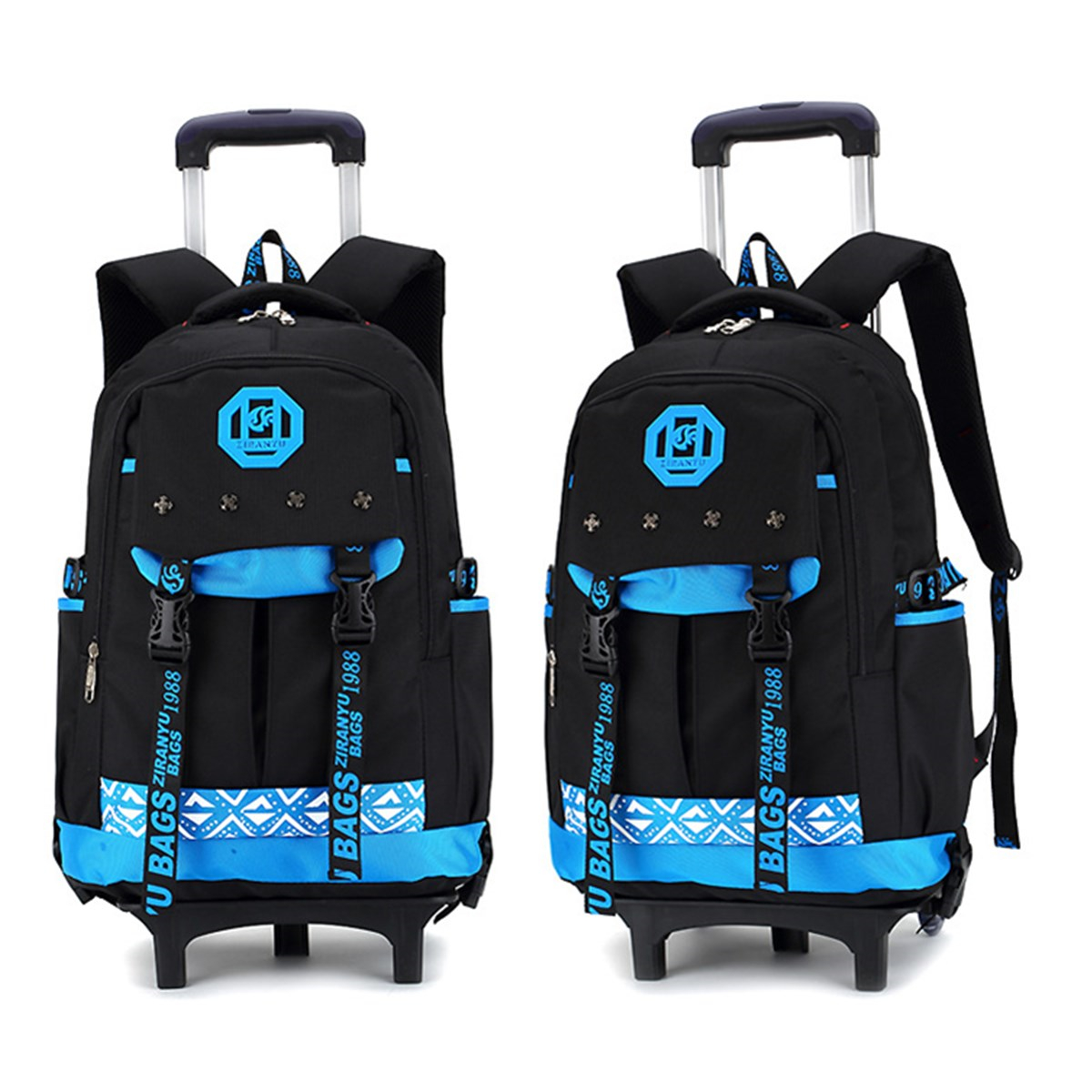 26L Boys Kids Children Travel Luggage School Bag Trolley Backpack With Three Wheels