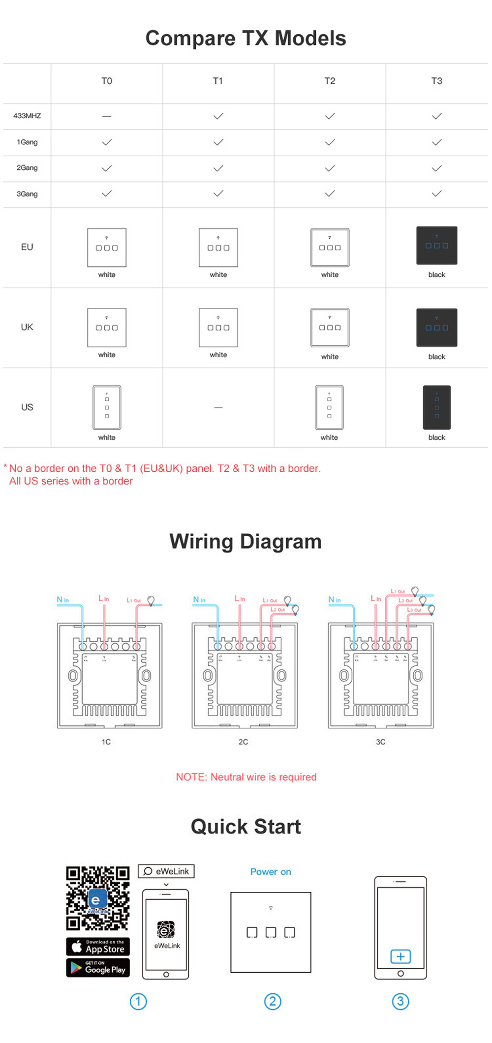 SONOFF® T3 EU/US/UK AC 100-240V 1/2/3 Gang TX Series WIFI Wall Switch 433Mhz RF Smart Wall Touch Light Switch For Smart Home Work With Alexa Google Home