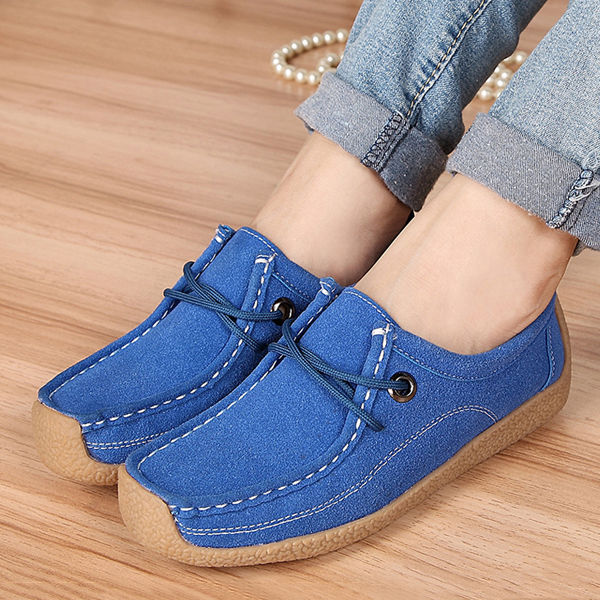Women Casual Soft Suede Comfortable Lace Up Round Toe Flat Loafers Shoes