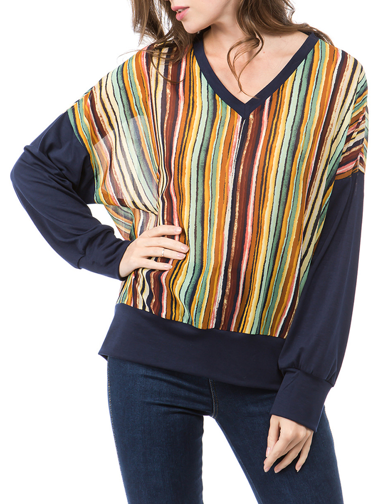 Women Casual Striped V-Neck Long Sleeve Blouse