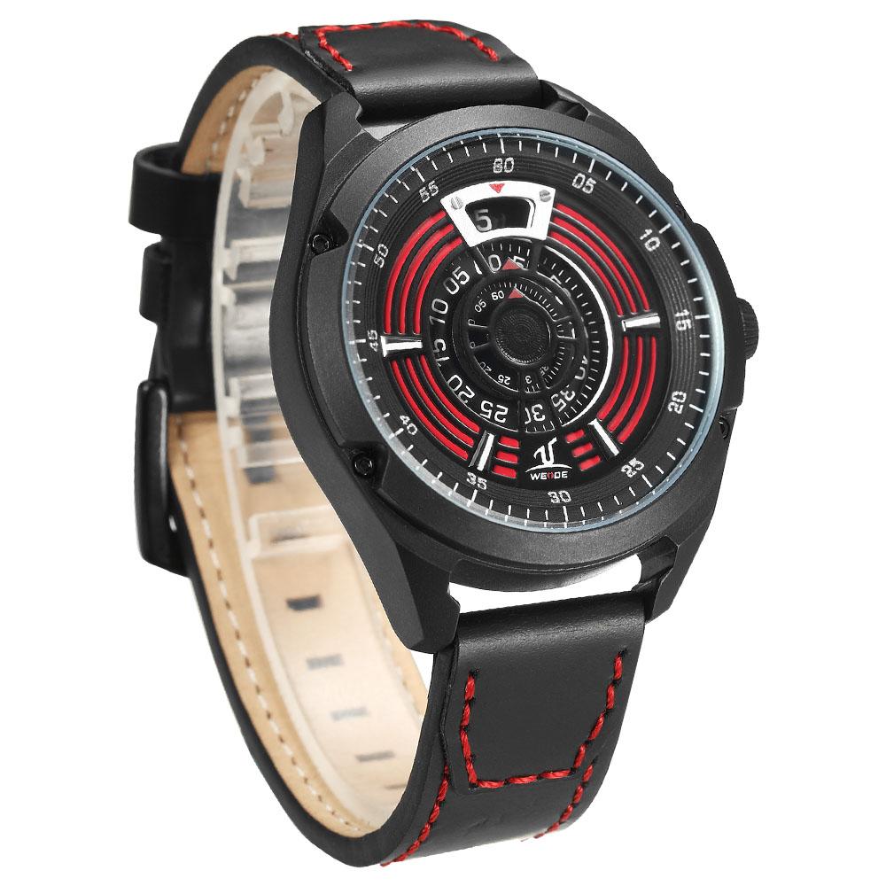 WEIDE UV1701 Unique Design Leather Strap Men Wrist Watch