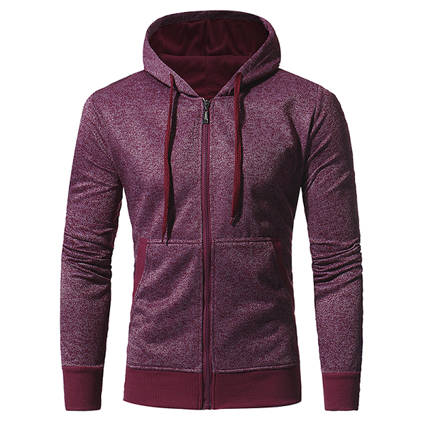 Men's Casual Fashion Snowflake Cloth Slim Fit Sport Hoodies Long Sleeve Sport Zipper Sweater