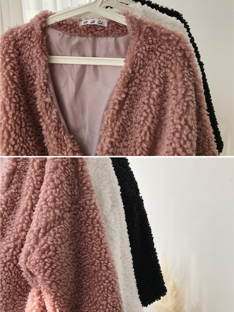 Women Trendy Solid Color Fluffy Short Cardigan Coats