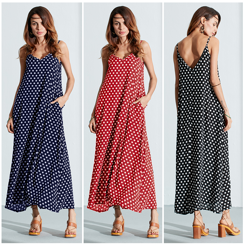 V-Neck Strap Dot Backless Pockets Dresses