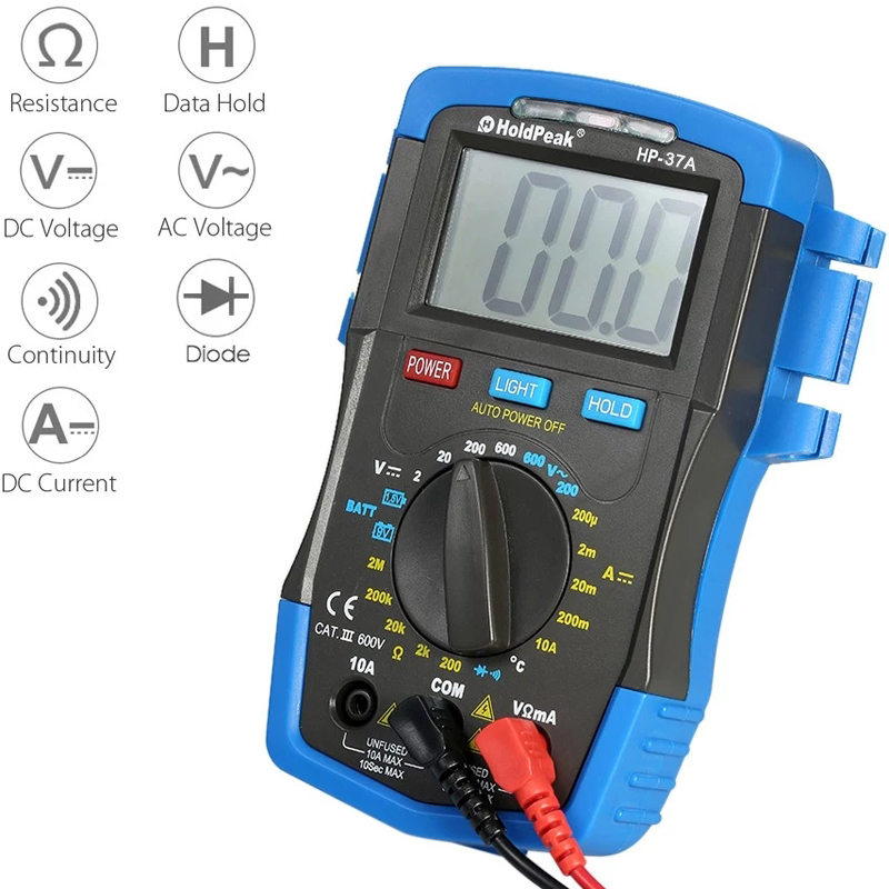 HoldPeak HP-37A Backlight LCD Digital Multimeter DC/AC Voltage Current Meter Resistance Temperature Battery Diode Continuity Tester