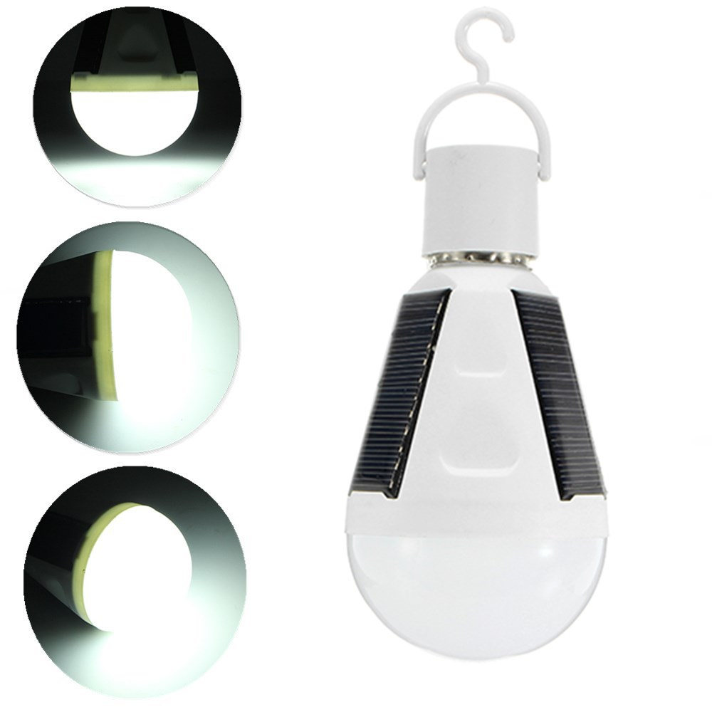 E27 7W LED Solar Charging Emergency Globe Lighting Lamp Bulb for Camping AC85-265V