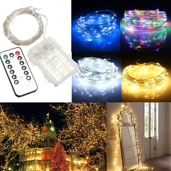 10M 100 LED Battery Operated Silver Wire String Fairy Light Christmas + Remote Controller