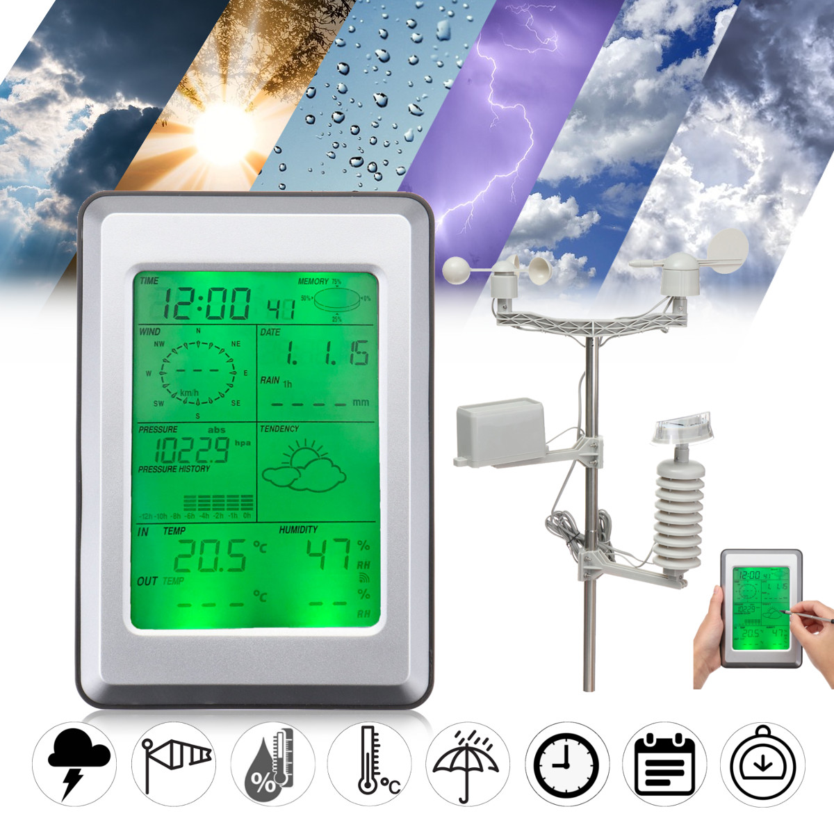 Wireless Touch Screen Weather Station LCD Solar Thermometer