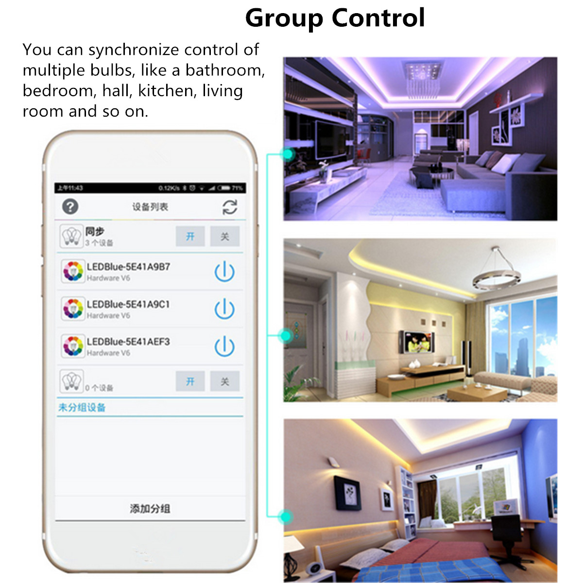 E26 10W RGBW Wireless bluetooth Smart LED Light Bulb APP Control AC110V