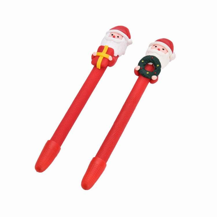 Christmas Santa Claus Crutches Style Soft Ceramic Ball Pen Cartoon Christmas Gifts Ballpoint Office School Supplies