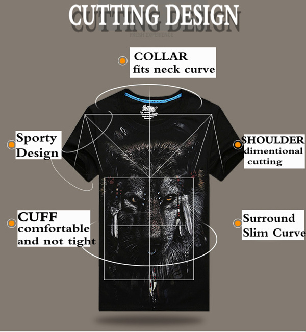 Plus Size S-4XL Summer 3D Indian Wolf Printing O-neck Men T shirts Short Tees