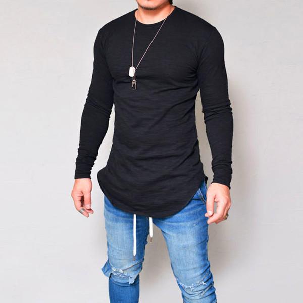 Mens Elastic Cotton Long Sleeve Long Basic Tees