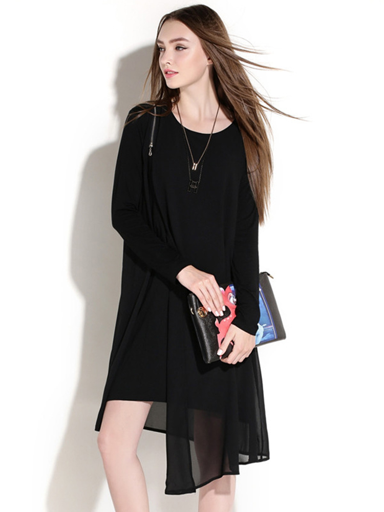 Elegant Chiffon Patchwork Long Sleeve Plus Size Dress