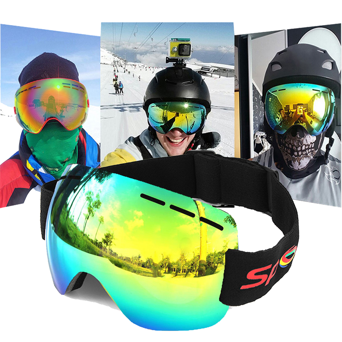 Motorcycle Goggles Anti-fog UV Skiing Snowboard Racing Sunglasses Snow Mirror Glasses