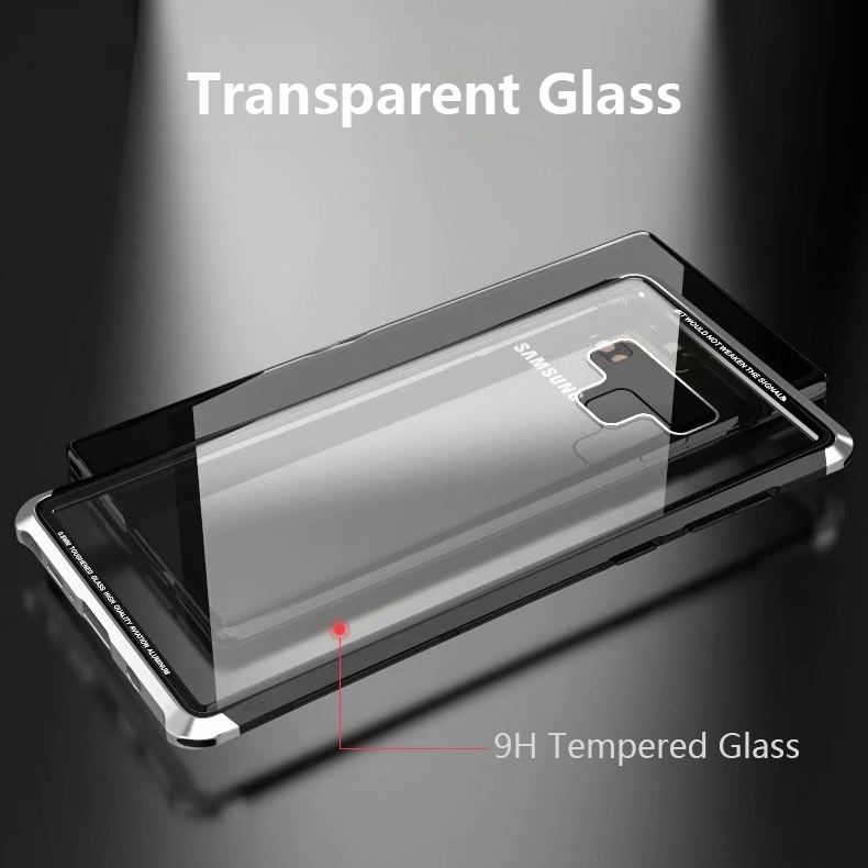 Luphie Metal Bumper+9H Clear Tempered Glass Back Shell Protective Case For Samsung Galaxy Note 9